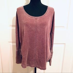 Lucky Brand Thermal Knit Top Raw Exposed Seams M